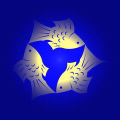 Trinity Sunday. Christian holiday. Three fish, located symmetrically. Yellow and blue