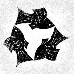Trinity Sunday. Christian holiday. Three fish, located symmetrically. Black and White