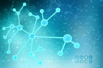 2d illustration of molecule model. Science background with molecule