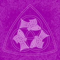 Trinity Sunday. Christian holiday. Three fish, located symmetrically. On a Purple grunge background