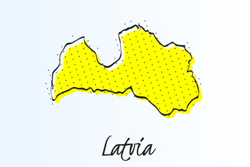 Map of Albania, halftone abstract background. drawn border line and yellow color