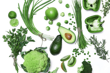 Fresh Green Vegetables And Fruits On White Background.