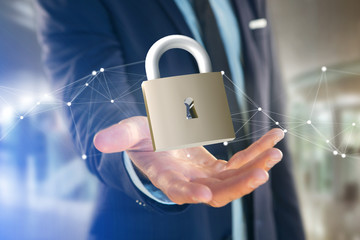 Padlock security connection isolated on a color background - 3d rendering