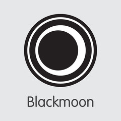 Blackmoon Cryptographic Currency. Vector BMC Pictogram.