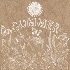 Summer background. Vector hand drawn  illustration with plantain, insects, lettering and space for text on kraft paper. Invitation, greeting card or an element for your design.
