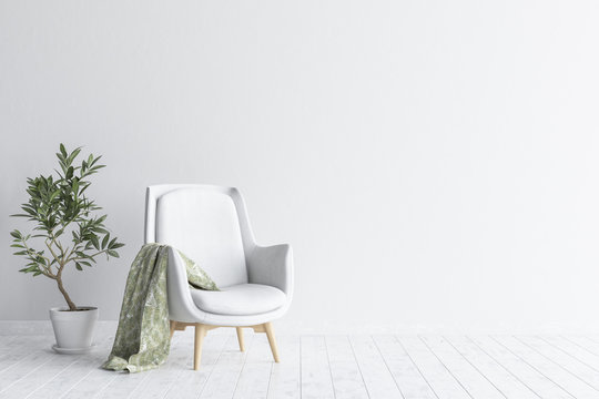 Living room interior with white sofa and flower, white wall mock up background, 3D render