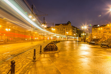 Bulgaria, Varna, The bridge of lions in the night city.