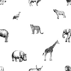 Seamless pattern of hand drawn sketch style animals and bird isolated on white background. Vector illustration.