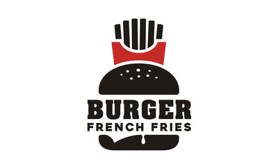 French Fries and Burger logo design inspiration
