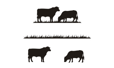 Cattle and Grass silhouette