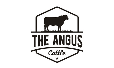 Retro Vintage Angus Cattle / Beef logo design vector