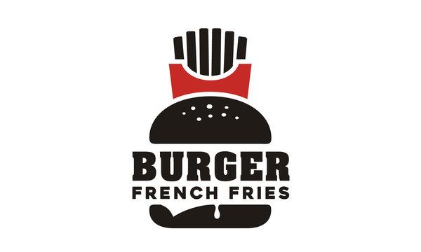Cheese Burger Hamburger & French Fries Potato logo design