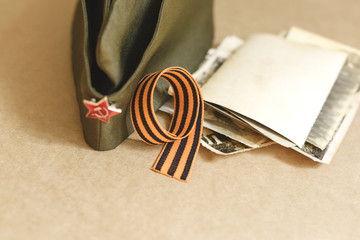 St. George ribbon in the form of 9. victory day. The Anniversary Of The War. The May 9 Celebrations.
