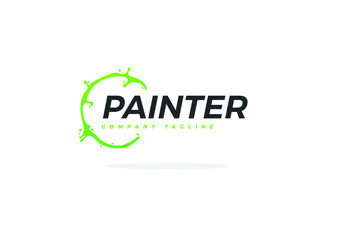 Creative Painter Logo With Green Paint Circle