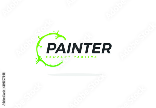 creative painter logo with green paint circle stock image and