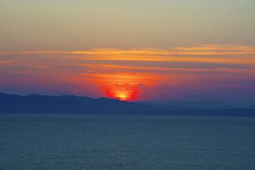 beautiful fiery sunset over the sea