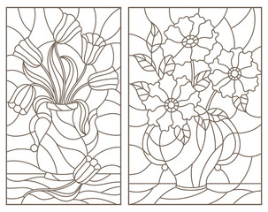 Set of contour stained glass illustrations, bouquets of flowers in vases, dark contours on a white background