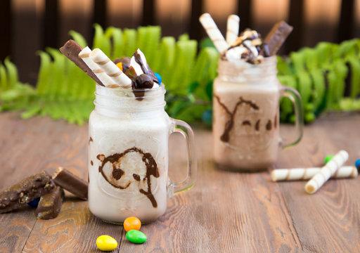vanilla and chocolate milkshake  Willy Wonka
