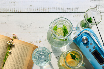 Relax time with book and music, and drink fresh homemade lemonade.