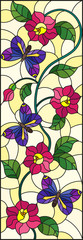 Illustration in stained glass style with abstract curly pink flower and an purple butterfly on yellow background , vertical image