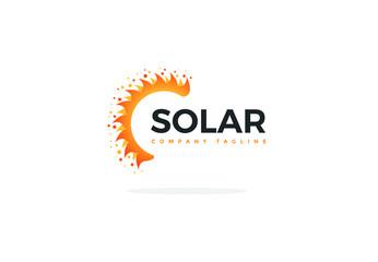 Solar Panel Logo Vector In Shape Of A Half Sun