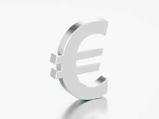 3D illustration silver uero money