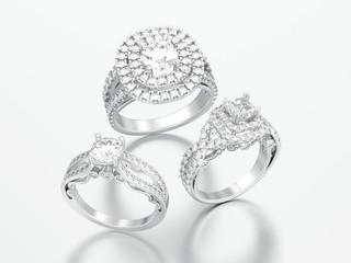 3D illustration three different silver decorative diamond rings