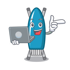 With laptop iron board character cartoon