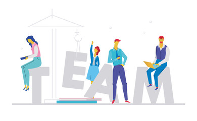 Team - flat design style colorful illustration