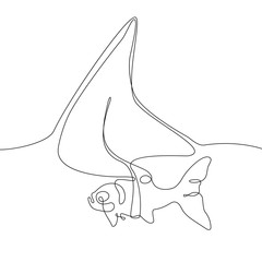 Fish with a shark fin - one line design style illustration