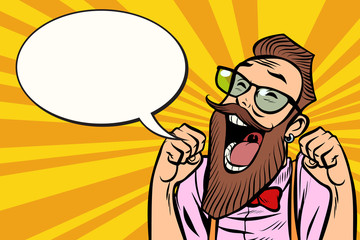 Stylish bearded hipster with glasses funs