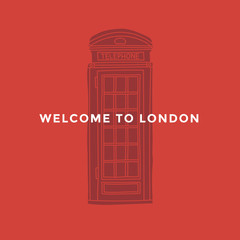 Hand drawn linear drawing of red telephone booth on red background. National historic site of London. Design for travel catalogue, flyers, postcards, brochure. Vector illustration.