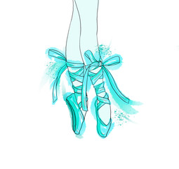 Hand drawn ballerina legs in a ballet pointe shoe.