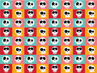 Seamless Pattern of Funny skulls in different characters on colourful background