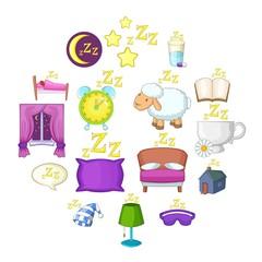 Sleep symbols icons set. Cartoon illustration of 16 sleep symbols vector icons for web