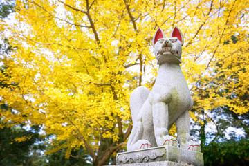 Statue of a guardian fox at Nara Park, Japan.