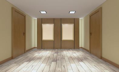 Modern office Cabinet. Meeting room. 3D rendering. Empty paintings