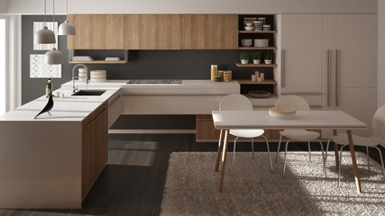 Modern minimalistic wooden kitchen with dining table, carpet and panoramic window, white and gray architecture interior design