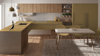 Modern minimalistic wooden kitchen with dining table, carpet and panoramic window, white and yellow architecture interior design