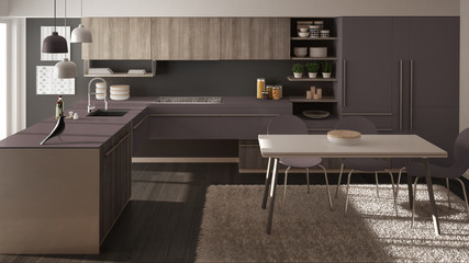 Modern minimalistic wooden kitchen with dining table, carpet and panoramic window, gray and violet architecture interior design