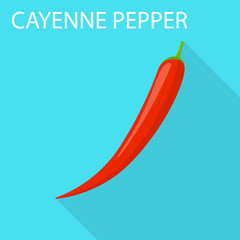 Cayenne pepper icon. Flat illustration of cayenne pepper vector icon for web design