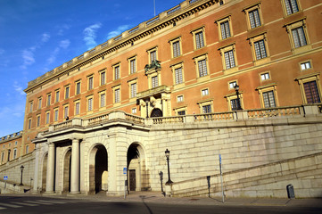 The baroque style building of The Royal Palace of Stockholm, a combination of royal residence, workplace and culture-historical monument in old town Gamla Stan, Stockholm, Sweden