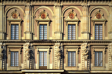 Details of baroque style building of The Royal Palace of Stockholm, a combination of royal residence, workplace and culture-historical monument in old town Gamla Stan, Stockholm, Sweden