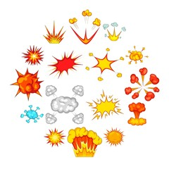 Explosion icons set. Cartoon illustration of 16 explosion vector icons for web