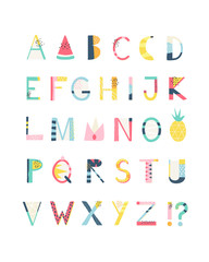 Colorful and fun summer alphabet letters vector font. Cute clean hand drawn abc font for your design.