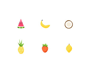 Summer tropical fruit vector icon set. Memphis style cute hand drawn fruits design elements.