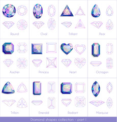 Colorful diamonds collection - part 1. eps10 vector illustraion