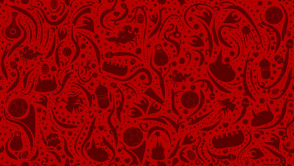 Russian Red Football Seamless Pattern Background