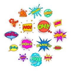 Comic sound cloud icons set. Cartoon illustration of 16 comic sound cloud vector icons for web
