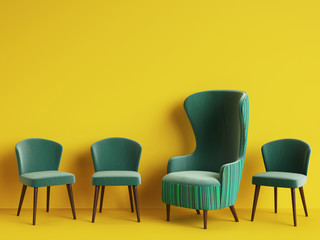 Classic armchair among simple chairs in green color on yellow background with copy space.